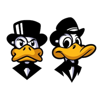 Conception de mascotte de canard monocle
