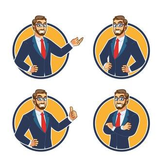 Conception de mascotte de caractère homme d'affaires