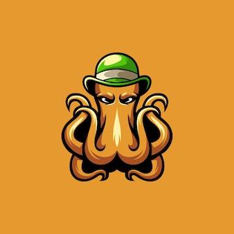 Conception de mascotte de casquette de poulpe