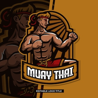 Conception de mascotte de combattant de muay thai avec texte modifiable