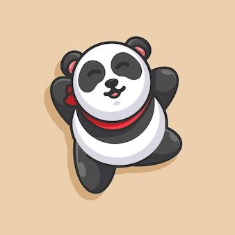 Conception De Mascotte De Dessin Animé Mignon Panda Vecteur Premium