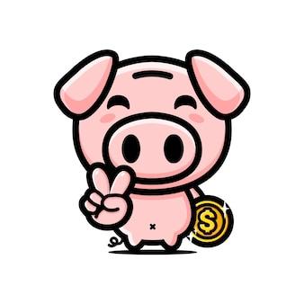 Conception de la mascotte du personnage de cochon mignon