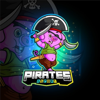 La conception de mascotte d'esport de cochon de pirates d'illustration