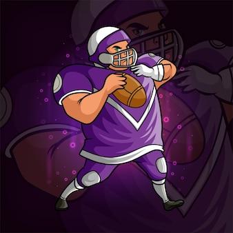 La conception de la mascotte esport du joueur de rugby fort de l'illustration