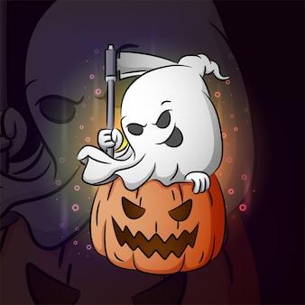 La conception de la mascotte esport de la faucheuse fantôme de l'illustration