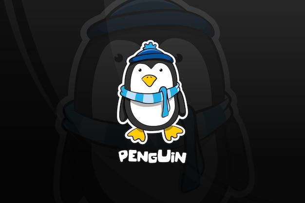 Conception de mascotte esport pingouin. hiver