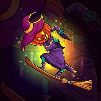 La conception de mascotte d'esport de tête de citrouille de sorcière d'illustration
