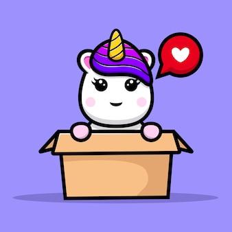 Conception de mascotte de licorne mignonne à l'intérieur de la boîte