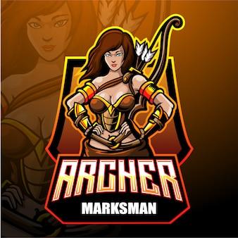 Conception de mascotte de logo archer esport.