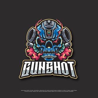 Conception de mascotte de logo d'arme robotique