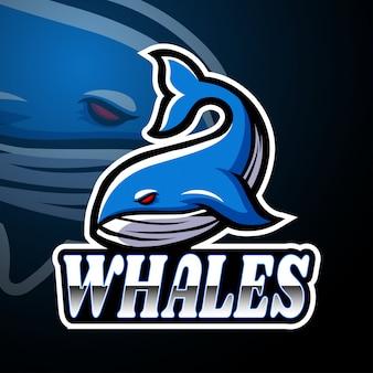 Conception de mascotte logo baleine esport