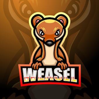 Conception de mascotte logo belette esport