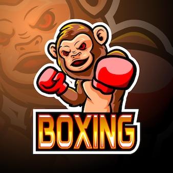 Conception de mascotte de logo de boxe e sport de singe