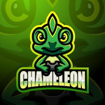 Conception de mascotte logo caméléon esport