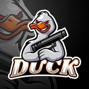 Conception de mascotte de logo de canard esport