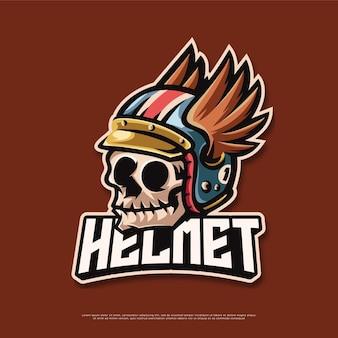 Conception de mascotte de logo de casque de moto