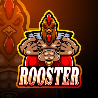 Conception de mascotte de logo coq esport