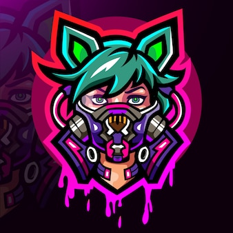 Conception de mascotte de logo cyberpunk esport
