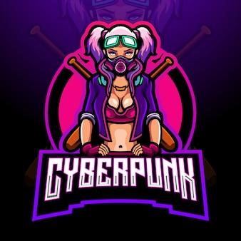 Conception de mascotte de logo cyberpunk fille esport