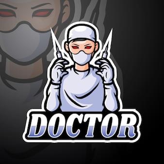 Conception de mascotte de logo docteur esport