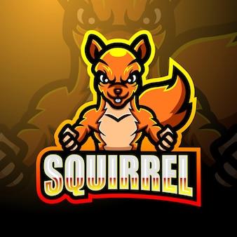 Conception de mascotte logo écureuil esport
