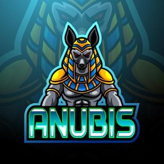 Conception de mascotte de logo d'esport d'anubis