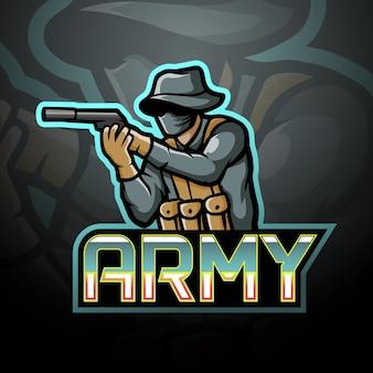Conception de mascotte de logo d'esport d'armée