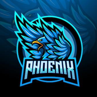 Conception de mascotte de logo esport bleu phoenix