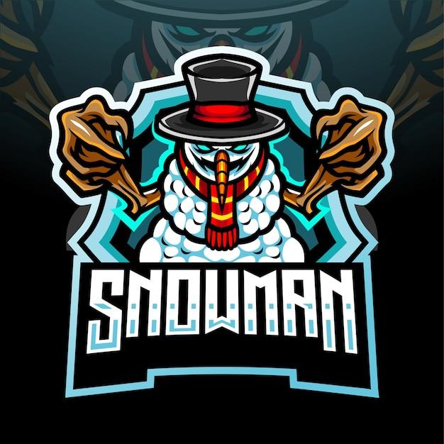 Conception de mascotte de logo d'esport de bonhomme de neige
