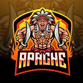 Conception de mascotte de logo esport chef tribal