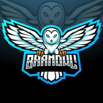 Conception de mascotte de logo d'esport de chouette effraie