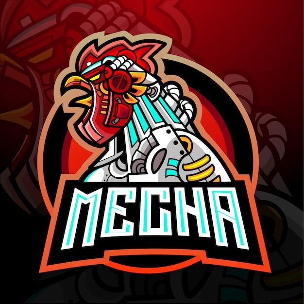 Conception de mascotte de logo d'esport de coq de mecha