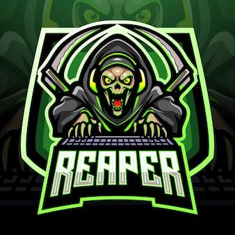 Conception de mascotte de logo esport crâne reaper