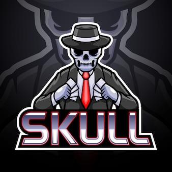 Conception de mascotte de logo d'esport de crâne