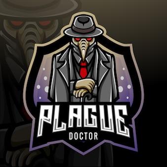 Conception de mascotte de logo esport docteur peste