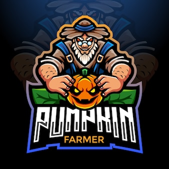 Conception de mascotte de logo esport farmer of pumpkin