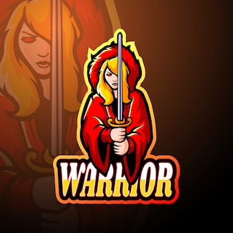Conception de mascotte de logo esport fille guerrière