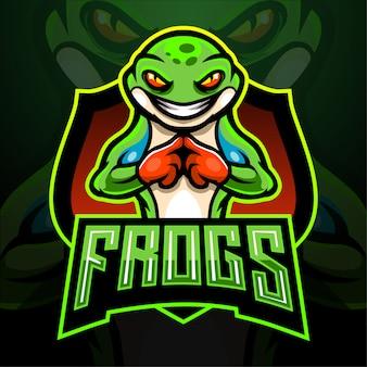 Conception de mascotte de logo esport de grenouille