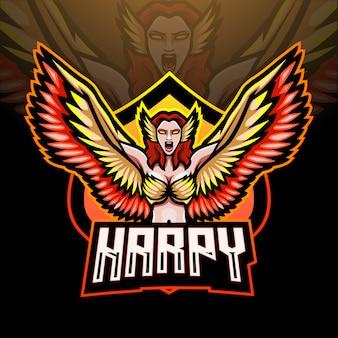 Conception de mascotte de logo d'esport de harpie