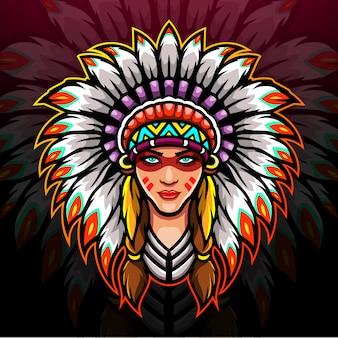 Conception de mascotte de logo esport indien américain.