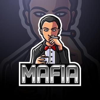 Conception de mascotte de logo d'esport de mafia