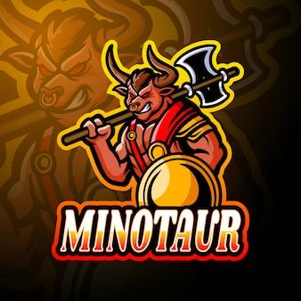 Conception de mascotte de logo esport minotaure