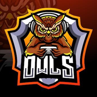 Conception de mascotte de logo esport oiseau hibou