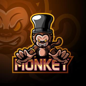 Conception de mascotte de logo d'esport de singe