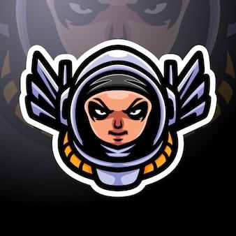 Conception de mascotte de logo d'esport de spaceman