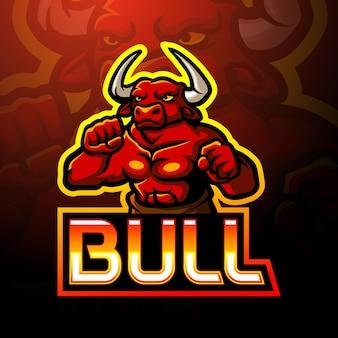 Conception de mascotte de logo d'esport de taureaux