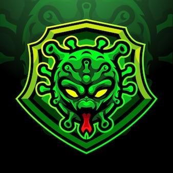 Conception de mascotte de logo esport virus corona