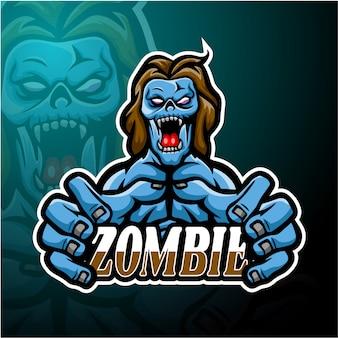 Conception de mascotte de logo esport zombie