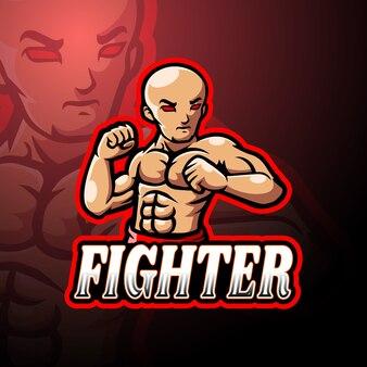 Conception de mascotte logo fighter esport