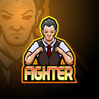 Conception de mascotte logo fighter esport